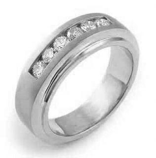 5Ct Round Mens Diamond Wedding Band Ring 14k Gold White