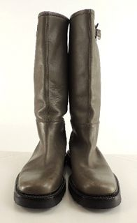 Bally Mens Knee High Flat Boots Putty Gray Leather Riding Boot Style