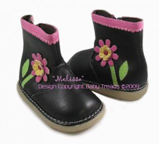 Squeaky Shoes Black with Hot Pink Flower Boots Sz 3
