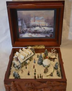 Thomas Kinkade Wood Music Box St Nicholas Village The Joy of Christmas