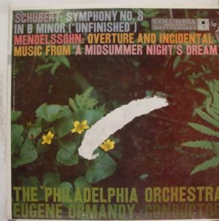 Ormandy Schubert Mendelssohn Symphony No 8 Midsummer Nights Dream LP