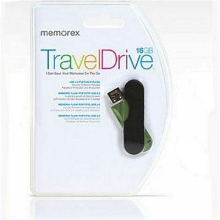 Memorex 16GB TravelDrive Capless Flash Drive w Security Software from