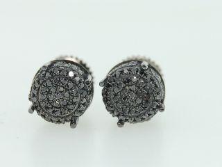 Mens Ladies Black Gold Black Diamond 3D Circle Sphere Stud Earrings w