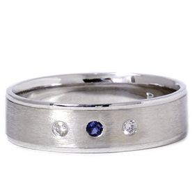 Mens Diamond Blue Sapphire Brushed Solid 14k White Gold Wedding Ring