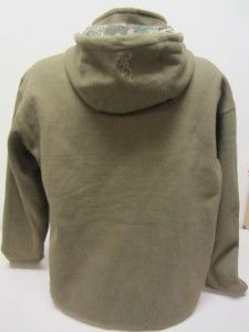 Mens Browning Thermal Lined Zip Up Hoodie Size M Army Green Chestnut