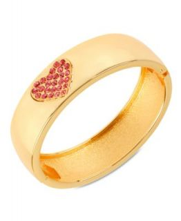 Betsey Johnson Bracelet, Antique Gold Tone Glass Heart Bangle Bracelet