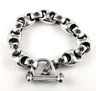 Chunky 925 Sterling Silver Mens Chain Bracelet 8 Biker New