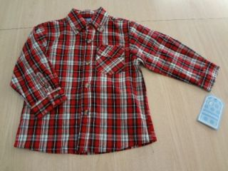 Ellemenno Baby Boy size 24 months Red Plaid Shirt & Beige Pants Outfit