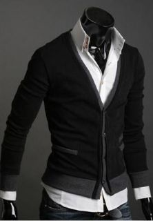 New Black Gray M L XL Mens Sweater Cardigan Sweater Shirt Casual Slim