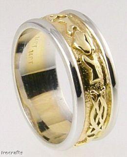 14k Gold Mens Claddagh Celtic Irish Wedding Band Ring Irish Made