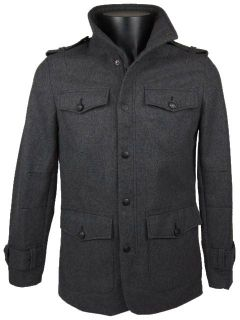 Mens Full Zip Melton Grey Military Jacket Wool Blend