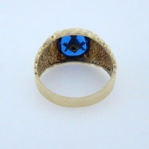 Mens 10K Yellow Gold Blue Masonic Lodge Nugget Ring Fine Jewelry 14mm