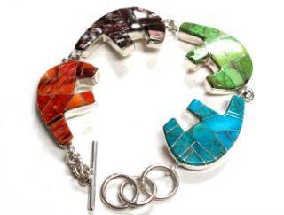 Melvin Francis 4 Sacred Bear Inlay Chain Link Bracelet