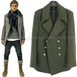 Men Double Breasted Wool Blend Pea Coat w Silver Button 3 Color M L