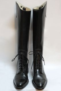Vtg Mens Black Leather Lace Up Field Riding Boots Sz 8
