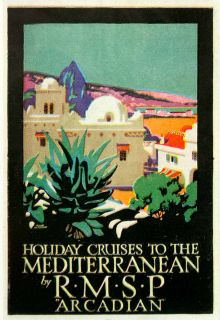 1924 Color Print Frank Newbould Arcadian Mediterranean Cruise