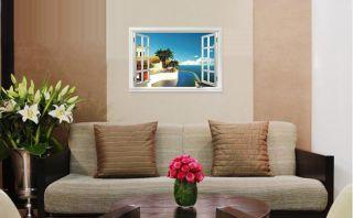 Creative Mediterranean Scenery Window Home Decor Sticker Removable