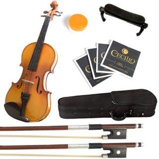 Mendini MV400 Ebony Fitted Solid Wood Violin Extra SE