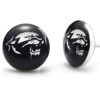 New Black Stainless Steel Tiger Stud Earrings for Men Jewelry