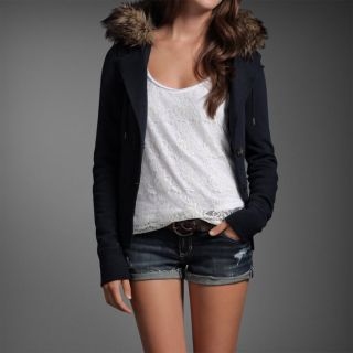 Abercrombie Women Meredith Navy Blue Faux Fur Button Hoodie Jacket