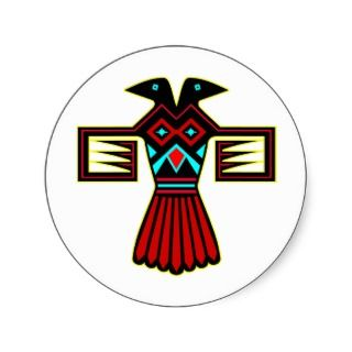 Native American Indian Bird Thunderbird Round Stickers