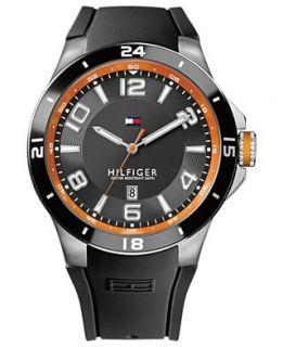 Tommy Hilfiger Watch, Mens Black Silicone Strap 44mm 1790861