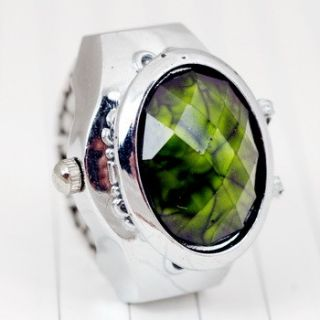 Unique Unisex Womens Mens Green Amber Finger Watch Ring