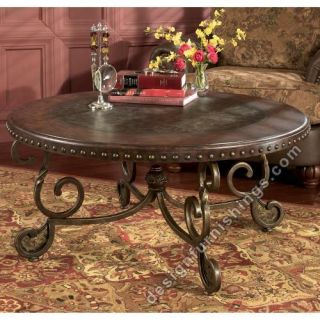 Ashley Rafferty Round Cocktail Table Dark Brown T382 8