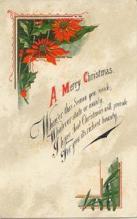 Postcard 107172 A Merry Christmas Poem Pointsettia
