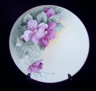 Saxony Artist Signed J Mellon Purple Green Floral Plate