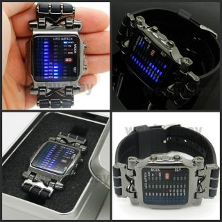 Digital Watch Blue/Mix Color LED Watch Metal Band Boys Mans Gift Box