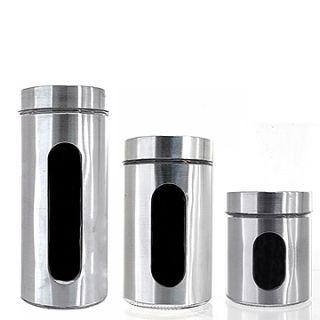 Stainless Steel Canister Set 3 Pcs Glass Storage Jars