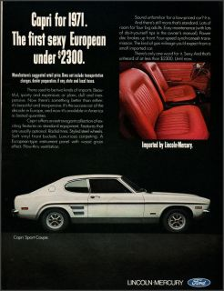 1971 Mercury Capri Sport Coupe Photo Ad w Interior View