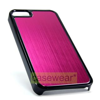 Pink Brushed Metal Slim Hard Case Phone Cover for Apple iPhone 5