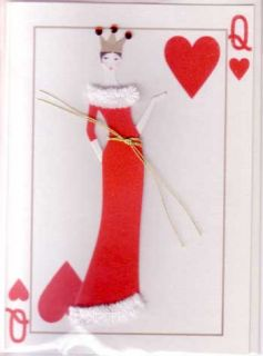 Meri Meri Greeting Cards Embellished Queen Hearts Red Hand Made 3D Set