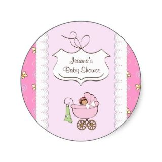 Baby carriage pink baby girl shower sticker