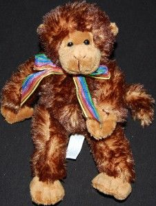 Mary Meyer Plush Monkey Brown Stuffed Toy Animal Rainbow Pride Ribbon