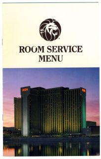 MGM Grand Hotel and Casino Room Service Menu Reno Nevada