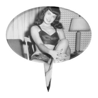 Bettie Page Vintage Pinup Photo with Legs Crossed Oval Cake Toppers
