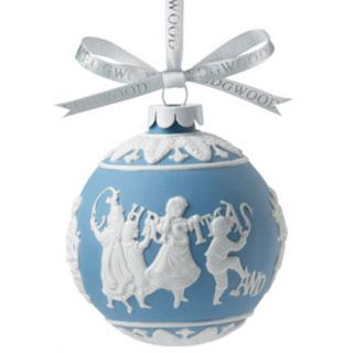 Wedgwood Merry Christmas Happy New Year Jasperware Ornament New Boxed