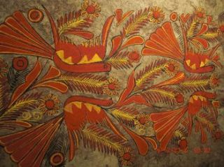 Beautiful Vintage Mexican Amate Bark Painting Otomi
