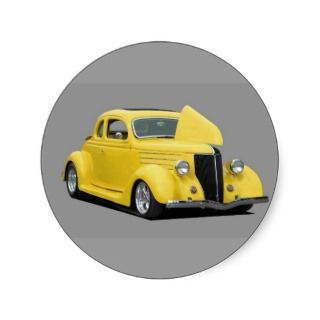 yellow hot rod car round stickers