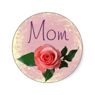 Beautiful Pink Rose for Mom Stickers