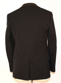 Versace Mens Black Leather Collar Suit 48C EU 38S US