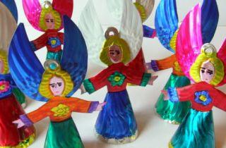 Mexican Tin Folk Art Angel Decoration Christmas Ornament Gorgeous