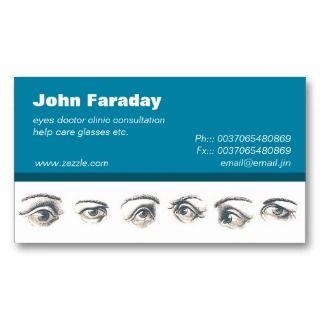 eyes doctor Optometrist Ophthalmologist medical design business card.