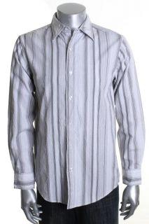 Michael Brandon New White Striped Long Sleeve Button Down Shirt M BHFO