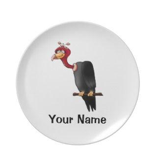 Personalized Plate, Cute Vulture Cartoon