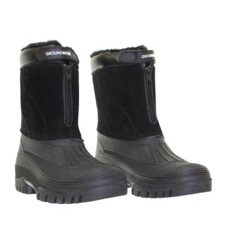 Mens Black Fur Lined Mucker Waterproof Outdoor Yard Garden Boots Size