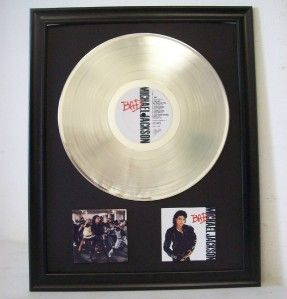 Michael Jackson BAD Platinum Plated LP Record & Mini Album Framed